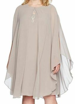$150 S.L. FASHIONS PLUS WOMEN'S BEIGE REMOVABLE CHIFFON CAPE