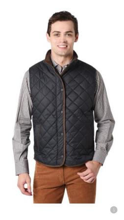 $175 PETER MILLAR Essex Quilted Vest Men Black Golf Zip Top
