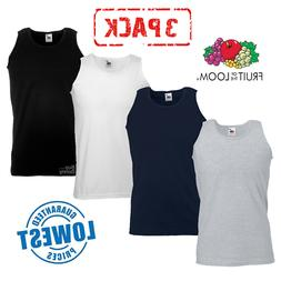3 PACK MEN'S FRUIT OF THE LOOM ATHLETIC VESTS GYM TRAINING T