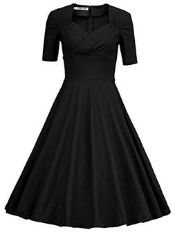 MUXXN Women's 50s Retro Solid Patchwork Pleated Swing Dress