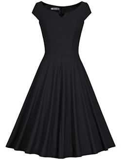 MUXXN Women's 50s Vintage Elegant Boat Neck Bridesmaid Swing