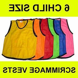 6 CHILD MESH SCRIMMAGE VESTS SOCCER BASKETBALL YELLOW RED BL