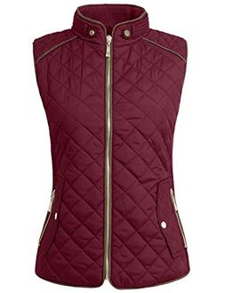 NE PEOPLE Womens Lightweight Quilted Zip Up Stand Collar Pad