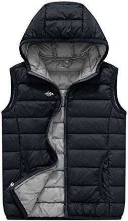 Wantdo Boy's Light Weight Puffer Down Vest Winter Coat Hoodi