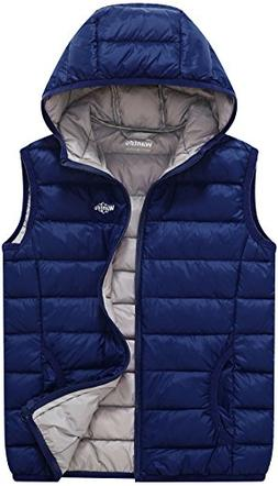 Wantdo Boy's and Girl's Lightweight Packable Hooded Down Ves