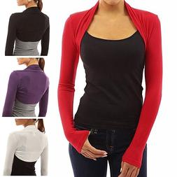 Womens Long Sleeve Bolero Shrug Knit Plain Cropped Cardigan