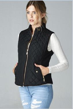 Active USA  Quilted Padding Vest With Suede Piping Details P