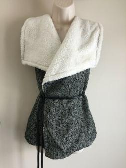 Active USA Vest Size Large Houndstooth Faux Sherpa Belt Wool