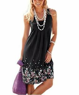 AELSON Womens Summer Casual Sleeveless Mini Printed Vest Sma