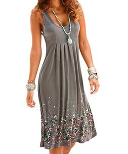 Akery Womens Summer Casual Sleeveless Mini Printed Vest Dres
