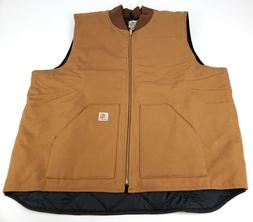 Carhartt Arctic Quilt Lined Duck Vest Men's 3XL TALL V01 BRN