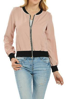Auliné Collection Womens Fashion Color Zip Up Lightweight B