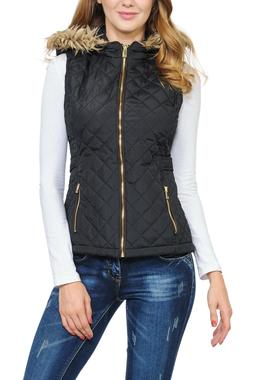 Auliné Collection Womens Quilted Zip Up Lightweight Fur Hoo