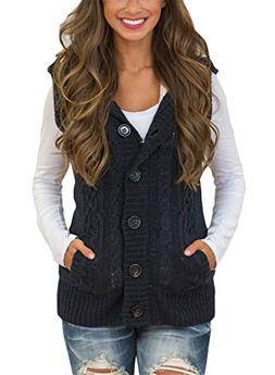 Blibea Womens Plus Size Hoodies Sweater Vest Button Up Cable