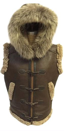 B3 men's RAF Real Shearling Leather Bomber Vest With Raccoon