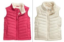 Baby Gap Toddler Girls Warmest Quilted Sherpa Lined Puffer V