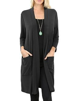 NE PEOPLE Womens Basic 3/4 Sleeve Open Front Cardigan with P
