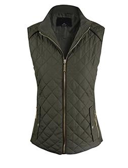 makeitmint Women's Basic Solid Quilted Padding Jacket Vest w
