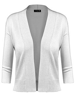 BILY Women's Classic Open Front Cropped Cardigan White Small