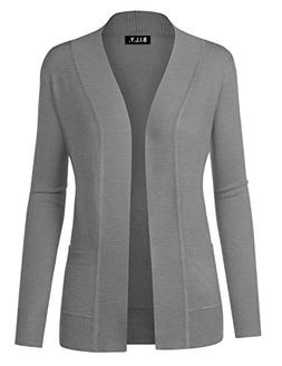 BILY Women Open Front Long Sleeve Classic Knit Cardigan Heat