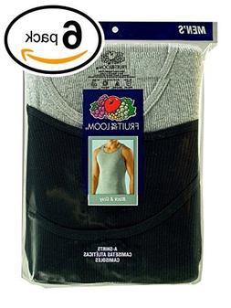 Fruit of the Loom Men's 6Pack Black & Grey A Shirts Tank T