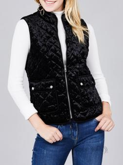 Active USA | Black Quilted Padding w/Suede Piping Velvet Ves