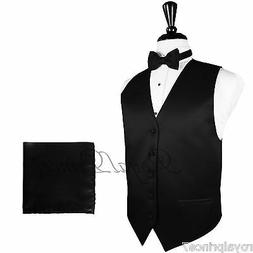 BLACK Solid Tuxedo Suit Dress Vest Waistcoat and Bow tie Han