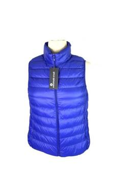 Blue Down Feathers Puffer Full Zip Vest Down Sarin Mathews W