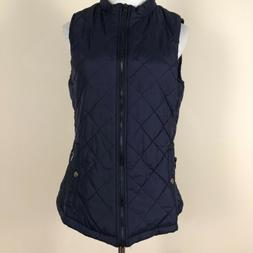 Allegra K Blue Zip Up Front Pockets Quilted Padded Vest Sz M