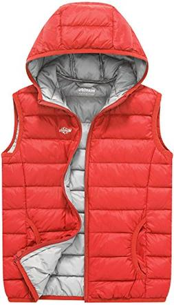 Wantdo Boy's and Girl's Hooded Puffer Down Vest Winter Coats