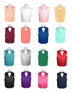 BOY'S Dress Vest and Boys BOW TIE Solid Color BowTie Set for