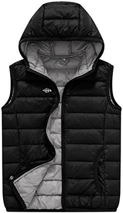 Wantdo Boy's Lightweight Packable Hooded Down Vest Sleeveles