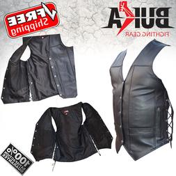 BUKA GEARS Men's Black Genuine Leather 8 Pockets Motorcycle