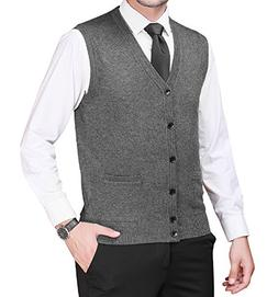 Zicac Men's Business Solid Button Knitwear Sweater Vest Slee