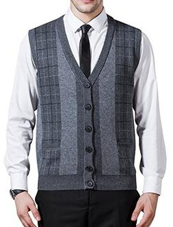 Zicac Men's Business V-Neck Assorted Color Knitwear Vest Car