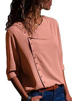 PRETTYGARDEN Women's Button Down Long Sleeve Solid Color Sex