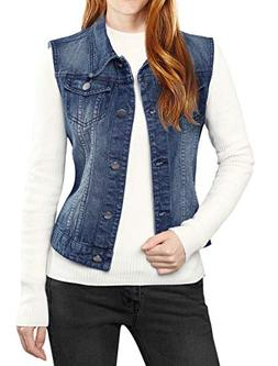 Allegra K Women's Buttoned Washed Denim Vest Jacket w Chest