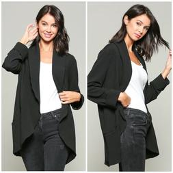 C+D+M By Esley Stitch Fix Black Long Blazer Cardigan With Po
