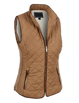 LE3NO Womens Casual Lightweight Quilted Zip Up Puffer Vest w
