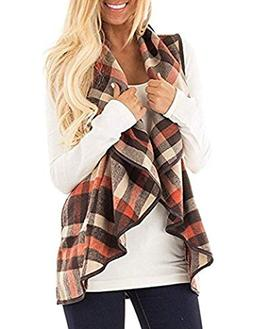 Unidear Womens Casual Plaid Print Sleeveless Open Front Card