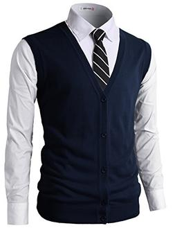 H2H Mens Casual Slim Fit Knitted Fabric V-Neck Button-Down V