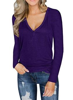 Unidear Womens Casual Solid T Shirt Long Sleeve Tunic Tops V