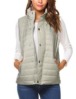 Beyove Women's Casual Zip Up Solid Slim Winter Outdoor Puffe
