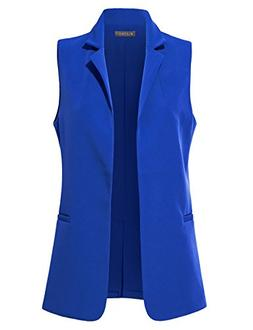 LE3NO Womens Classic Fully Lined Open Front Sleeveless Blaze