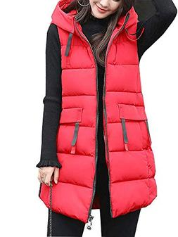 Women's Cotton Padded Zipper Front Quilted Puffer Long Down