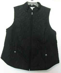 Croft & Barrow Black Quilted vest, zip front, lined, Sizes 1