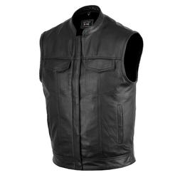 DEFY™ SOA Men's Motorcycle Club Leather Vest Concealed Car
