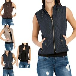 Diamond Quilted Sleeveless Zip Up Vest with Zippered Pockets