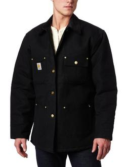 Carhartt Men's Duck Chore Coat Blanket Lined C001,Black,Larg