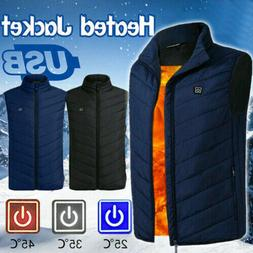 Electric Vest Heated Jacket USB Thermal Warm Heated Pad Wint